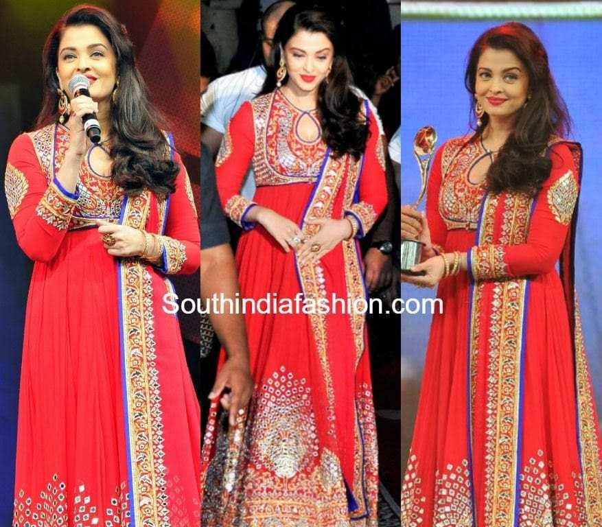 Aishwarya in Red Anarkali – South India Fashion
