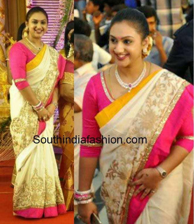 Preetha Vijaykumar In Chanderi Saree South India Fashion