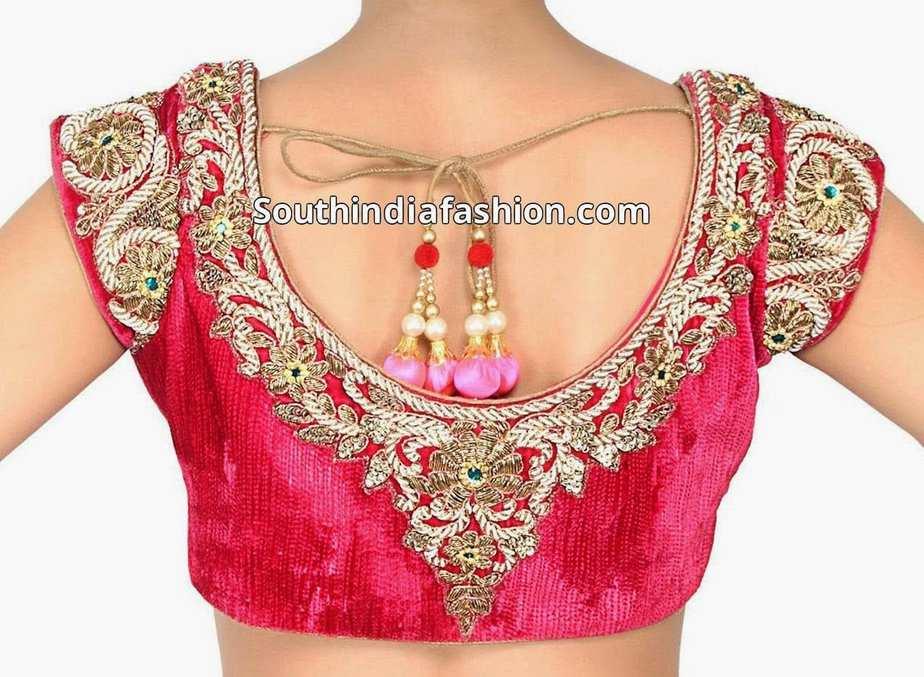 Heavy Work Velvet Blouse Designs –South India Fashion