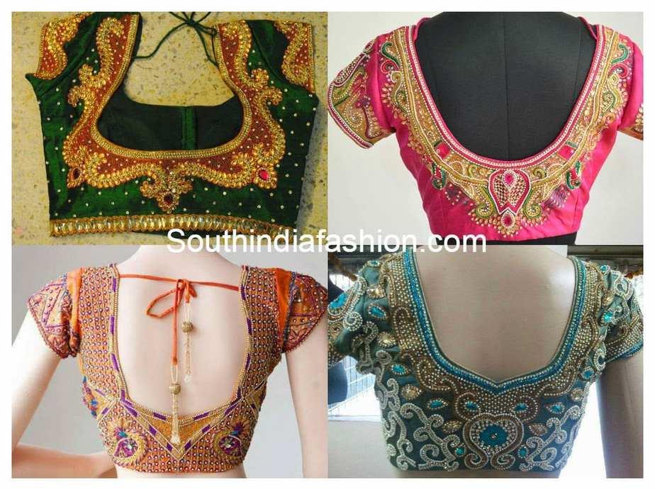 Maggam Work Wedding Saree Blouse Designs South India Fashion