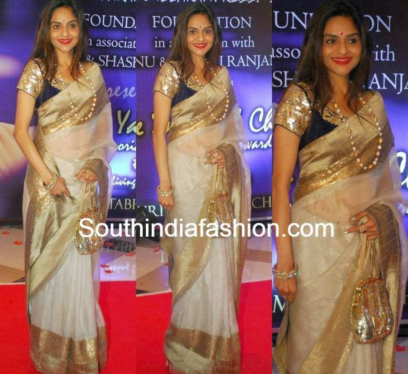 http://www.southindiafashion.com/wp-content/uploads/2014/12/madhubala_offwhite_saree.jpg Madhubala Serial Golden Saree