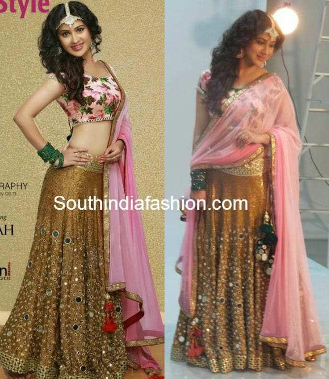 Mirror Work Lehenga South India Fashion