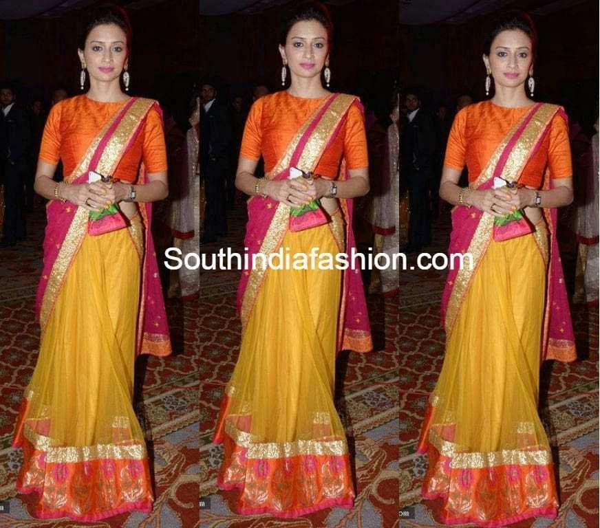 pink and yellow half saree