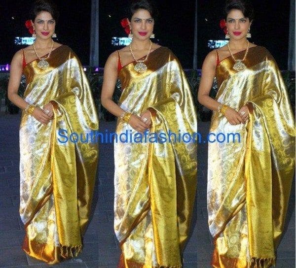 priyanka chopra in kanjeevaram saree