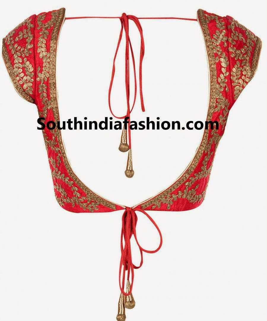 Zari work embroidered blouse south india fashion
