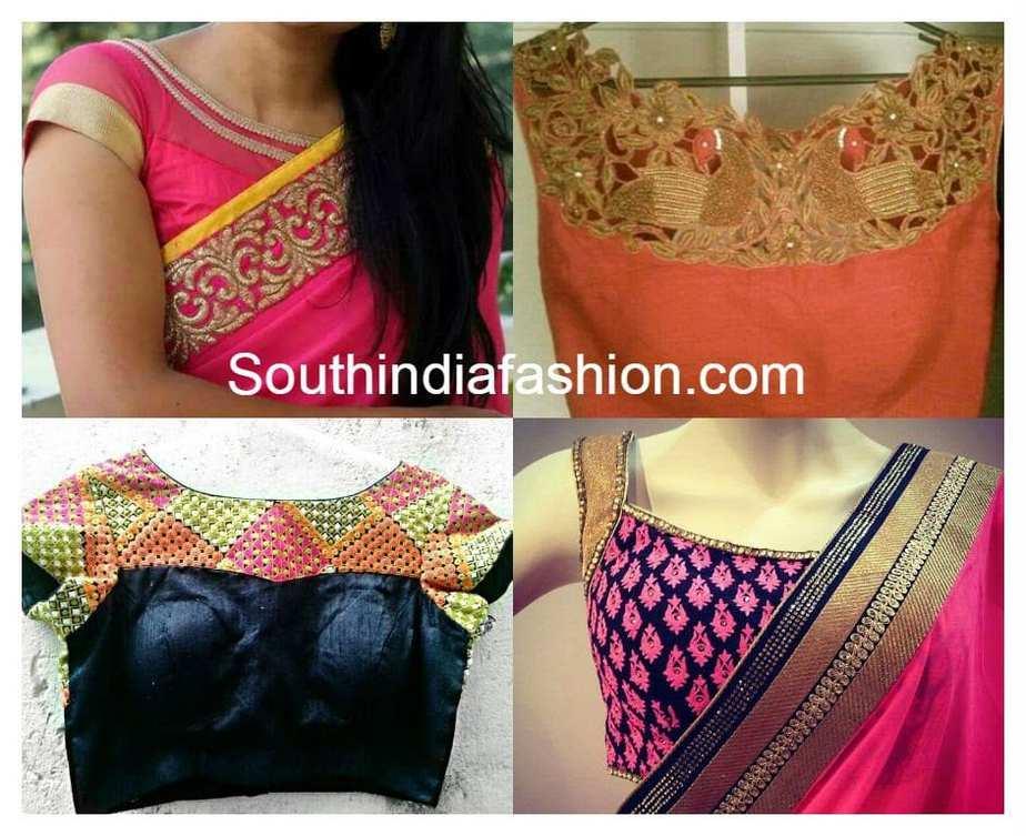 Indian Blouse Front Neck Designs For Boat Neck Blouse Designs