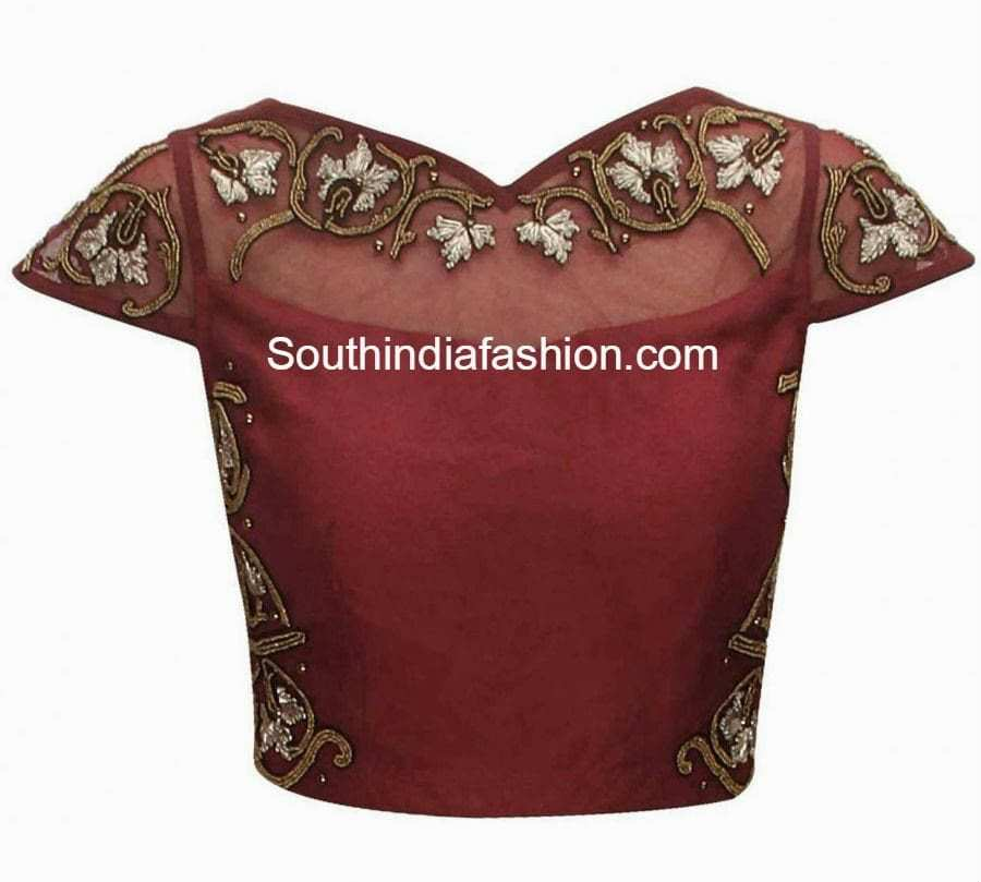 Maroon color raw silk blouse with embroidery on the sides sheer