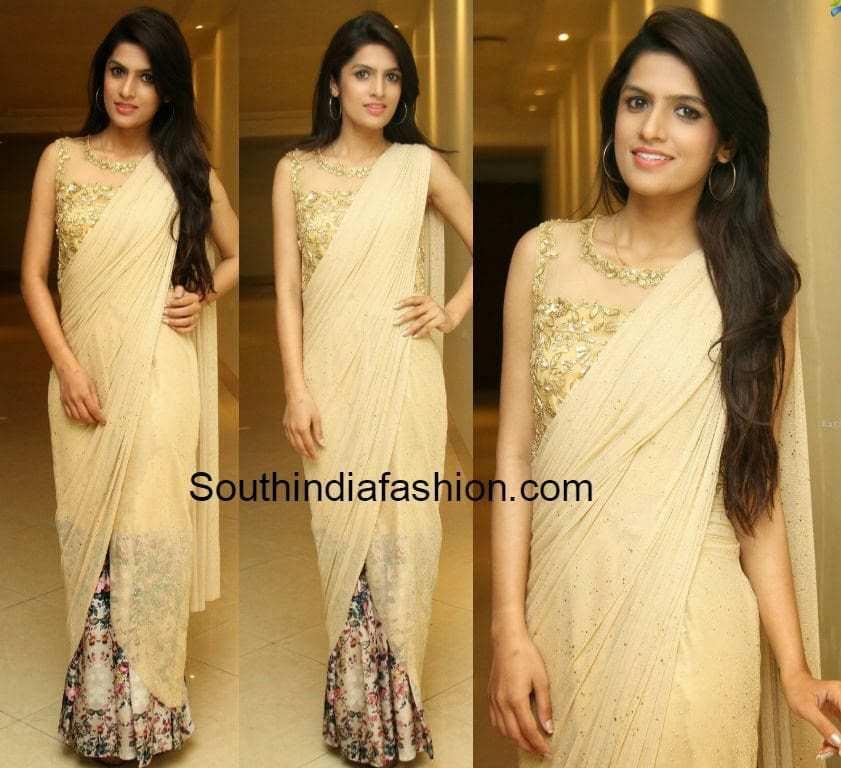 ritu baridar in saree gown