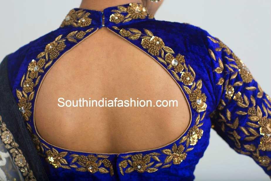 Velvet Zardozi Work Blouse South India Fashion
