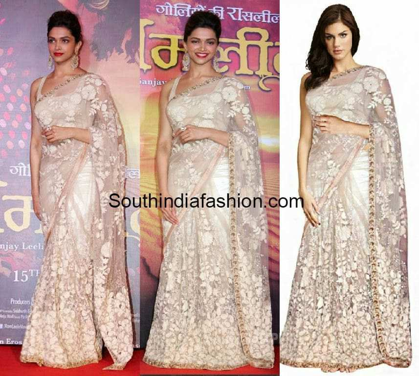 Replica of Deepika Padukone White Net Saree - South India ...