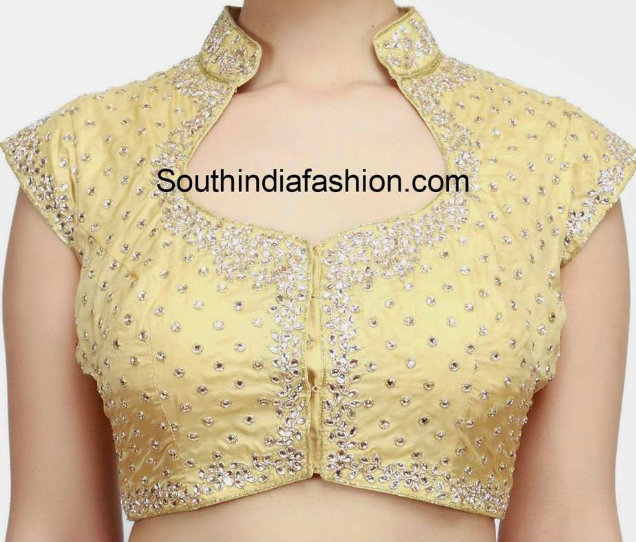 Stand Collar Blouse Designs Images : Kundan work blouse