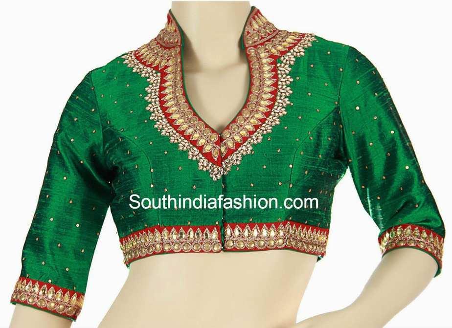 high neck kundan work blouse