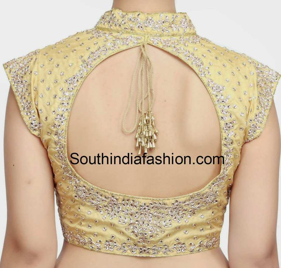 Stand Collar Neck Designs For Blouse : Collar neck kundan work blouse south india fashion