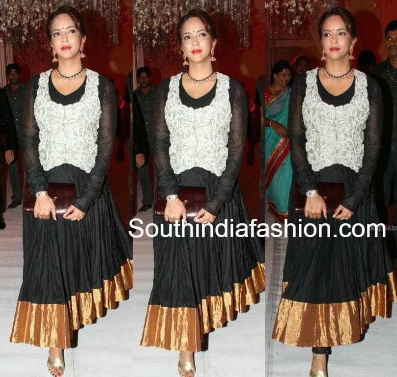 lakshmi manchu black anarkali suit