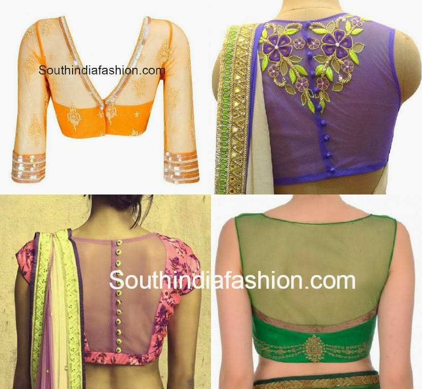 Saree blouse designs with transparent net fabric inserted on the back