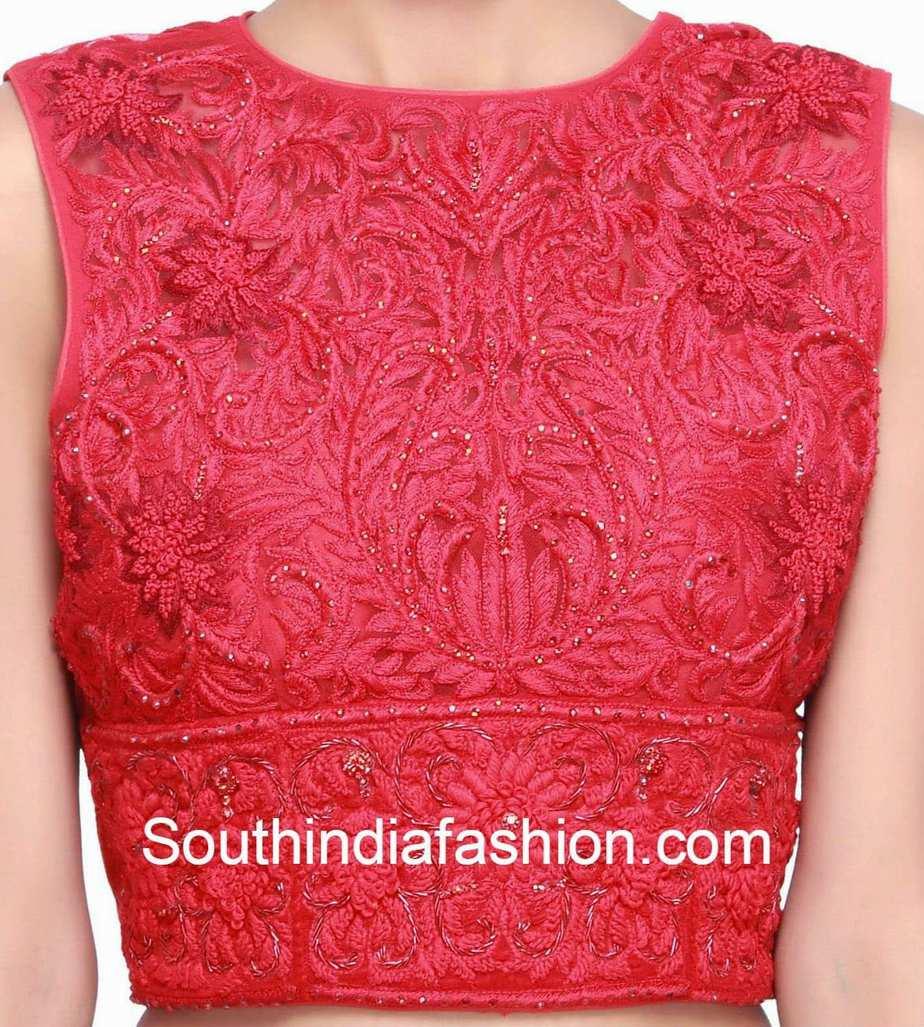 red net saree blouse