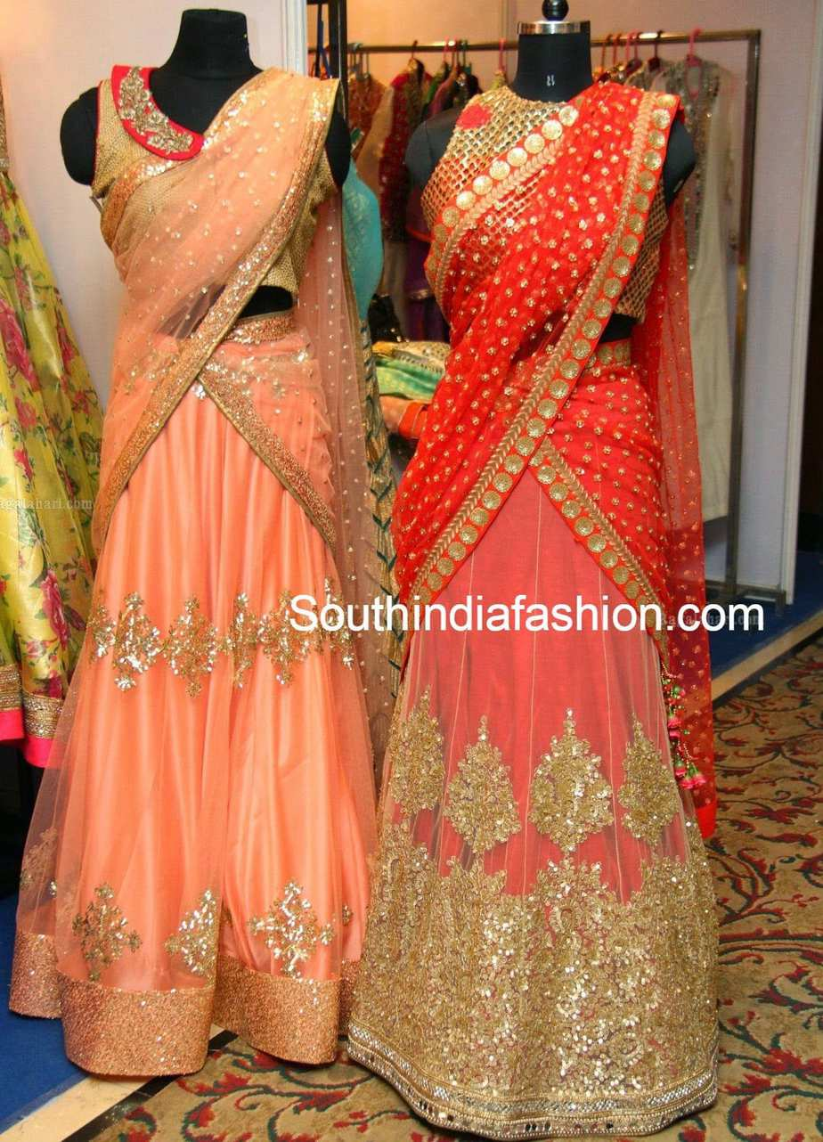 Peach and gold designer half sarees south india fashion - Peach and red combination ...