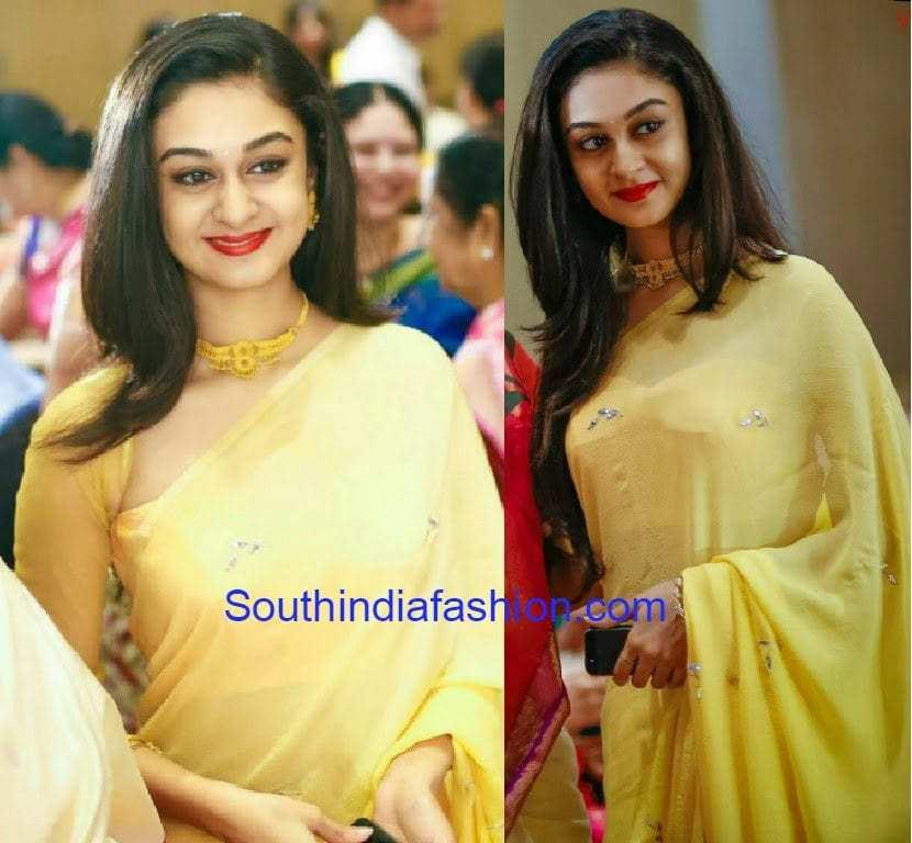 Aishwarya Arjun in Yellow Saree – South India Fashion