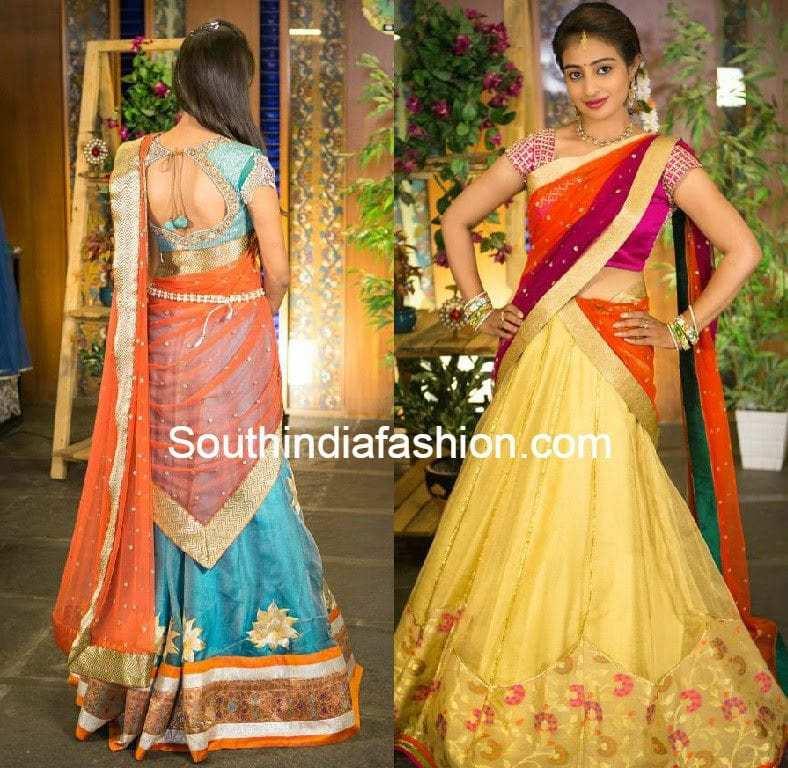 how to wear half saree steps