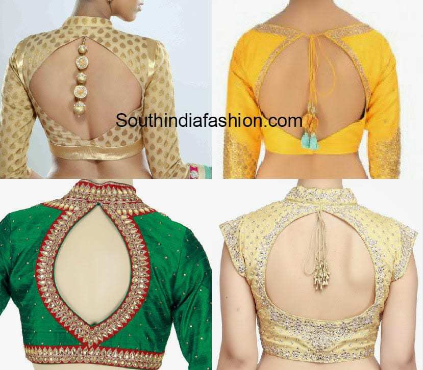 Cut Out Back Neck Blouse Designs South India Fashion