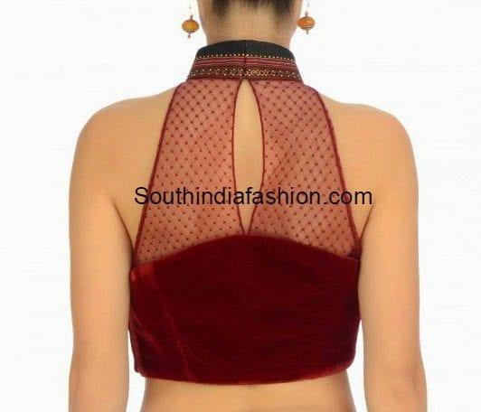 velvet halter neck blouse