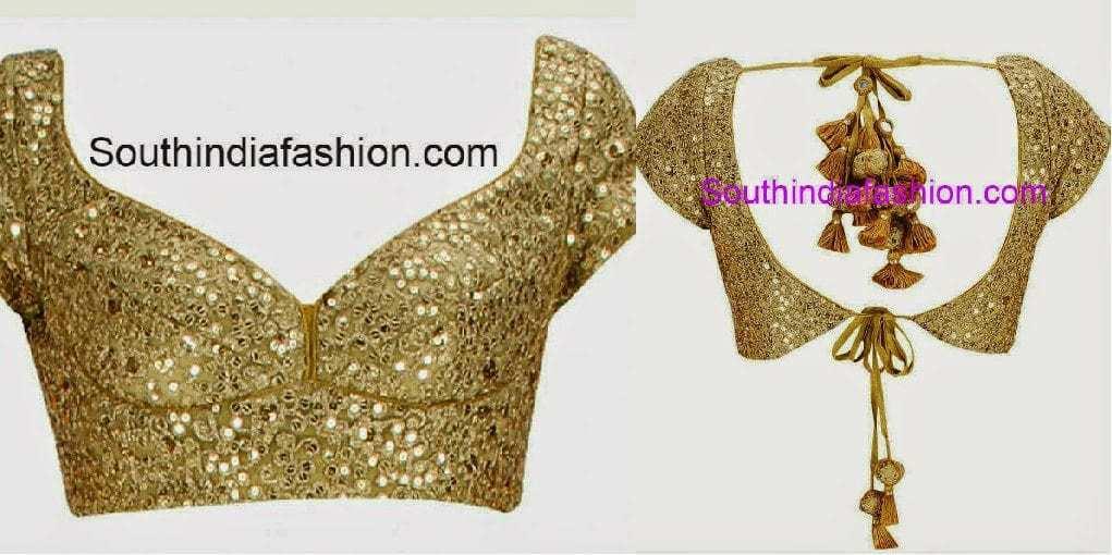 open back neck blouse designs