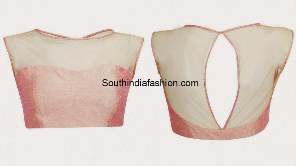 Plain Boat Neck Net Blouse South India Fashion