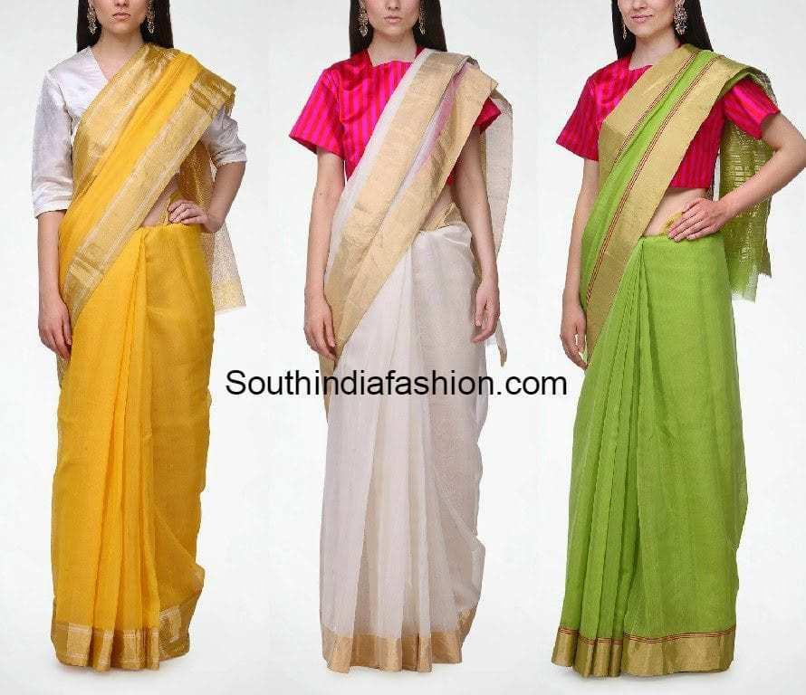 raw mango chanderi sarees online shopping