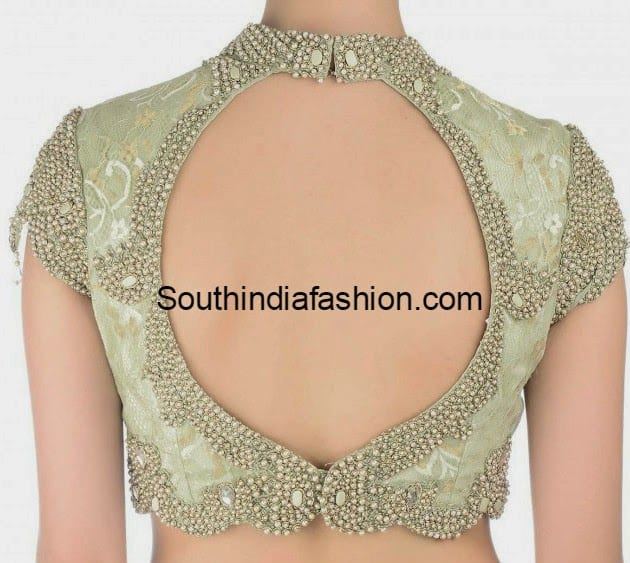 Blouse Stand Neck Designs : Stylish high collar neck blouse south india fashion