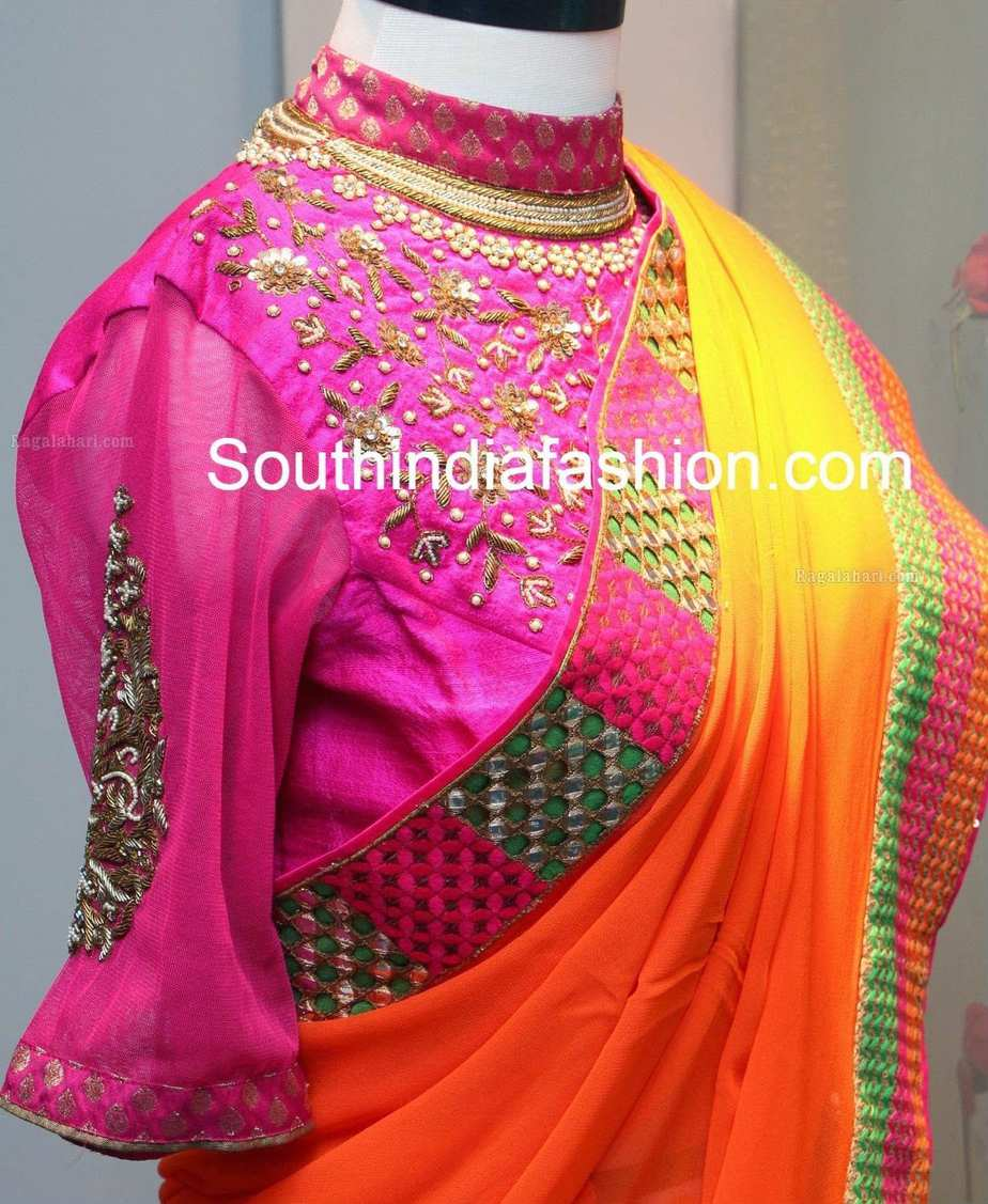 Trendy blouse designs for traditional wedding silk sarees for High couture designers