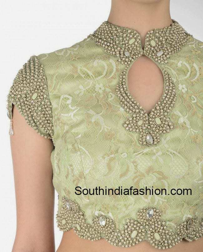 Stand Collar Neck Designs For Blouse : Stylish high collar neck blouse south india fashion