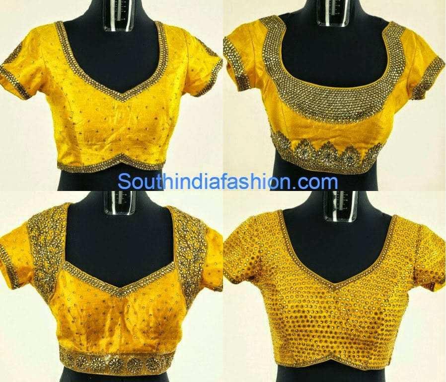 kundan work blouse designs