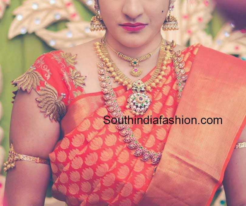 lotus work wedding blouse for kanchi pattu sarees