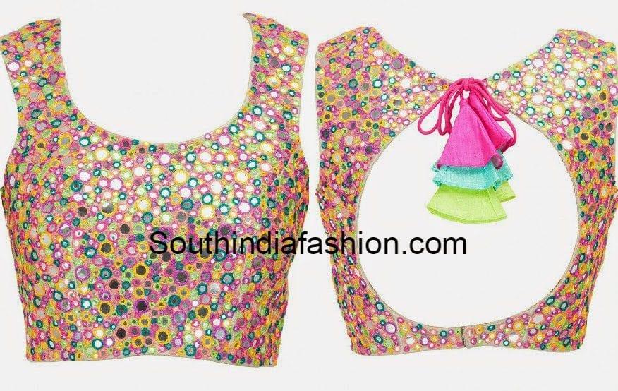multi color mirror work blouse