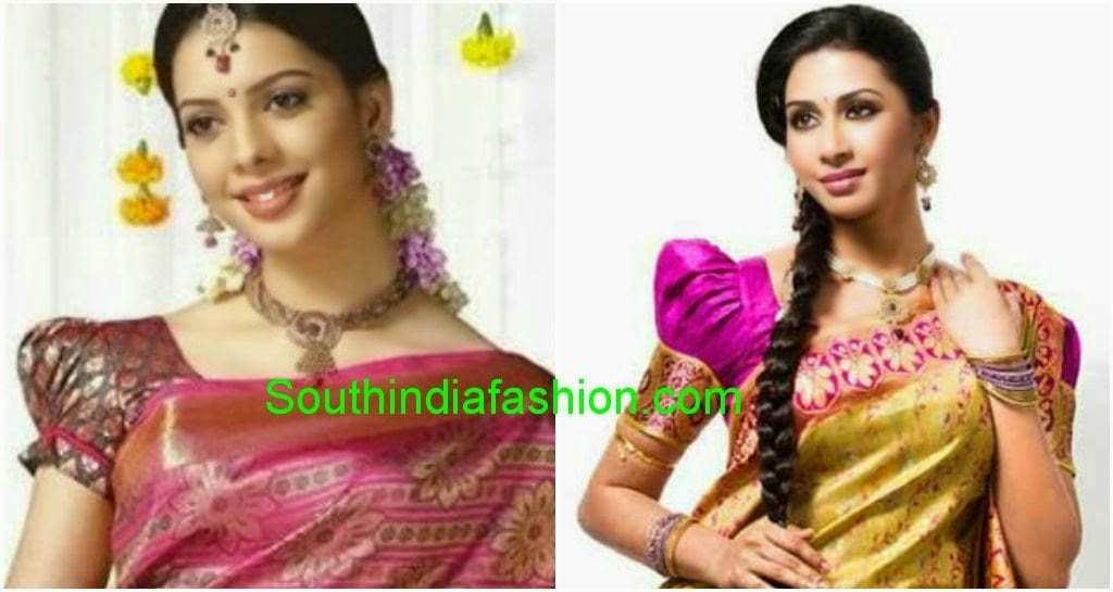 puff sleeves silk saree blouse