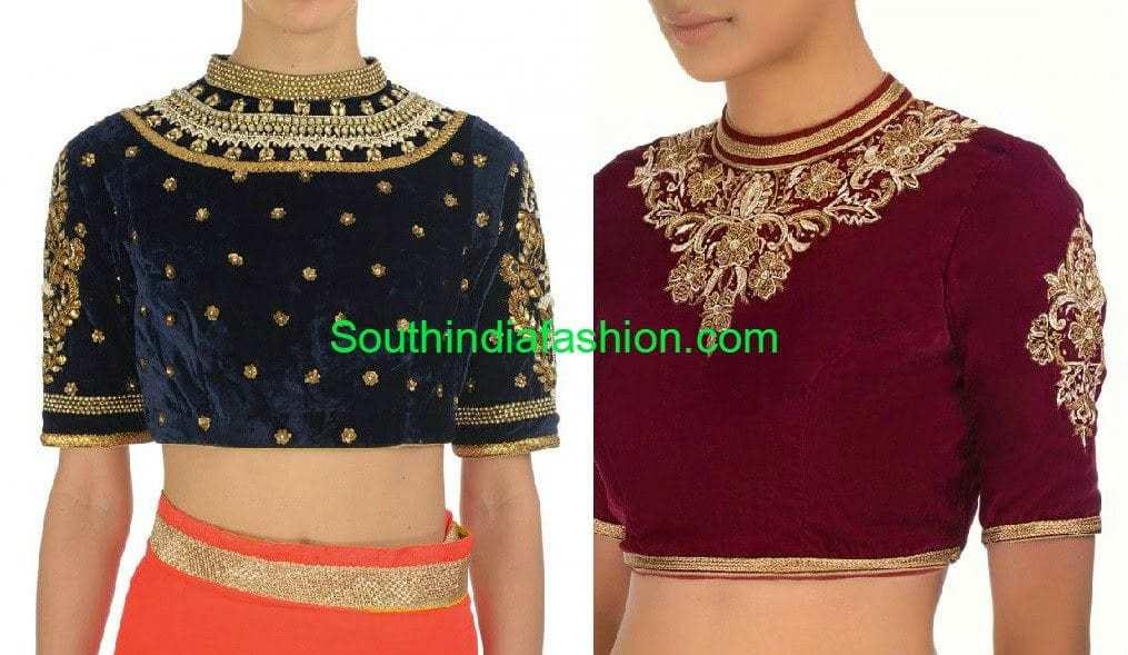 velvet high neck blouse designs