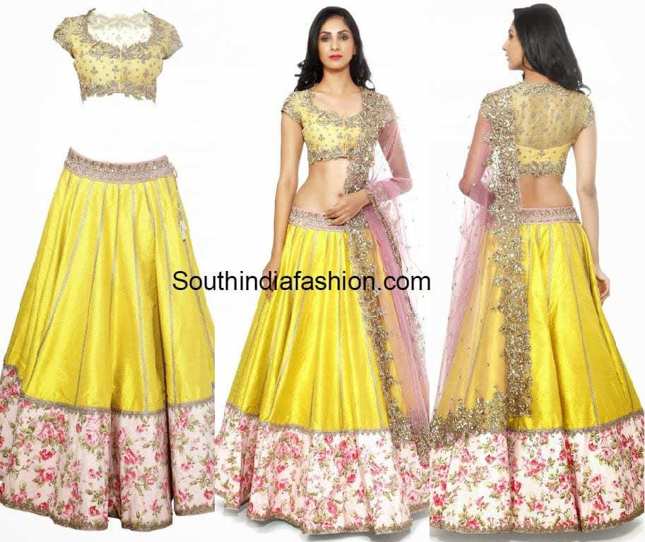 Yellow Lehenga/Half Saree By Anushree Reddy –South India