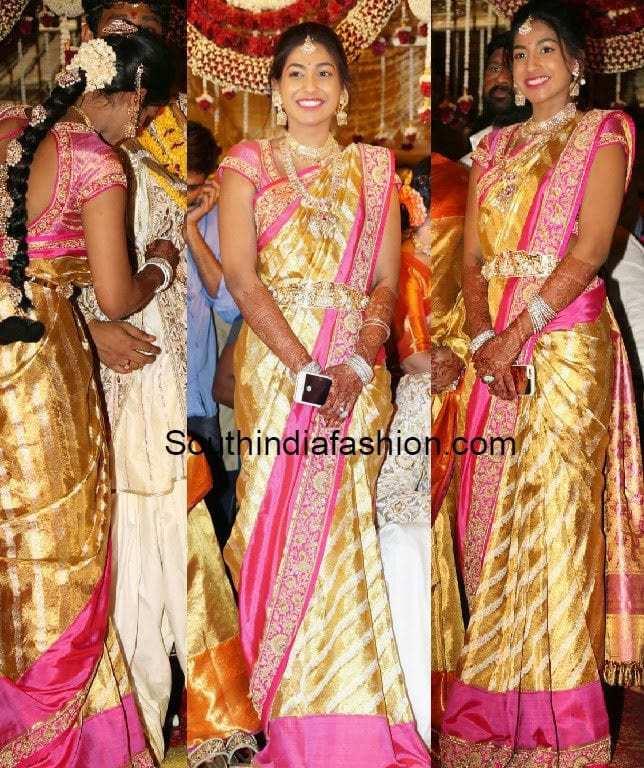 Gold And Pink Kanjeevaram Saree