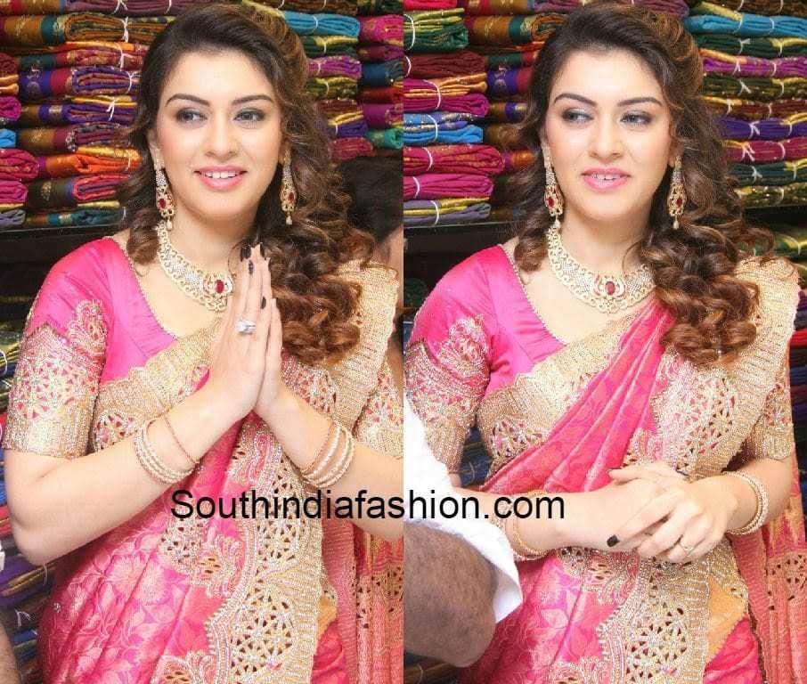 Hansika in Cut Work Kanjeevaram Saree –South India Fashion
