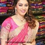 Hansika in Cut Work Kanjeevaram Saree