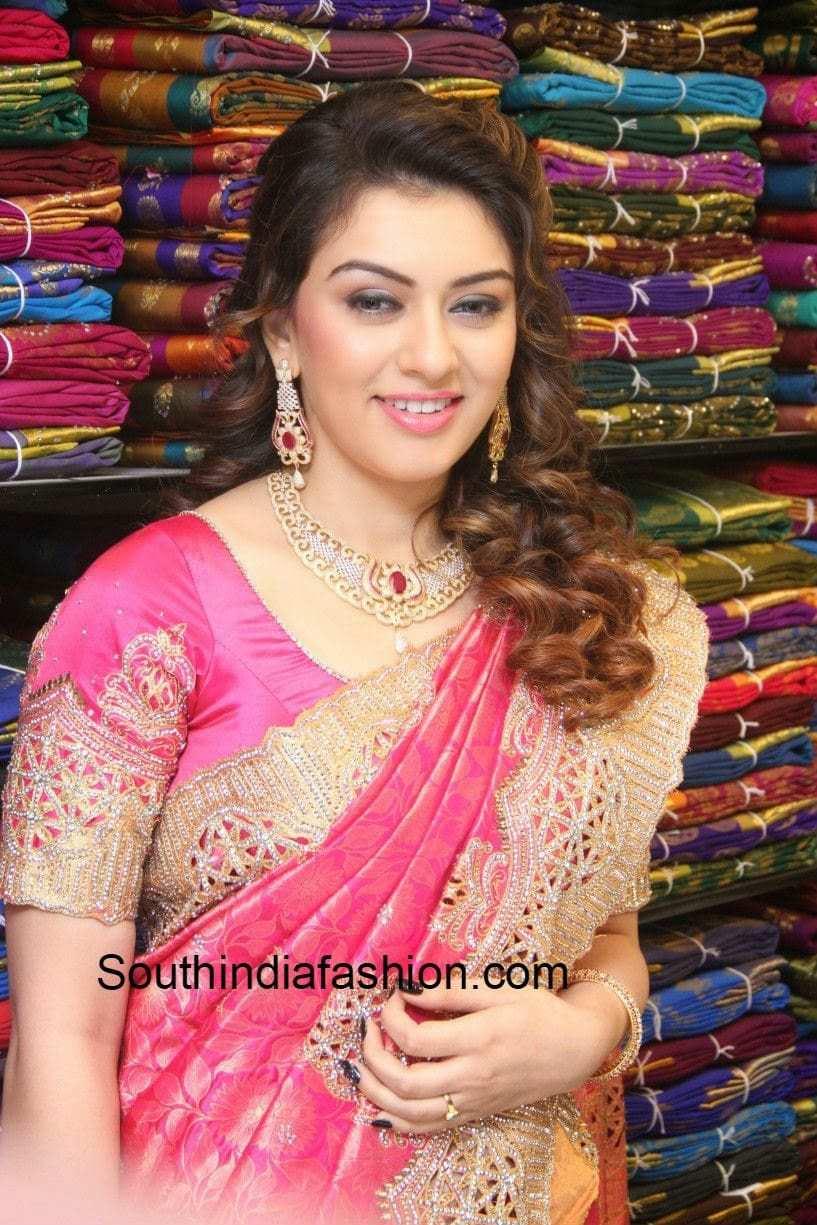 Hansika In Cut Work Kanjeevaram Saree South India Fashion