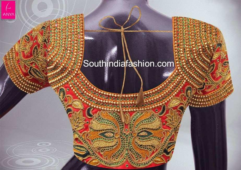 heavy work pattu saree blouse
