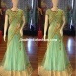 Elegant Mint Green Half Saree