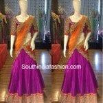 Orange and Purple Designer Half Saree