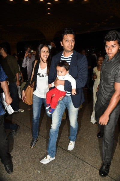 genelia riteish at airport with son riaan