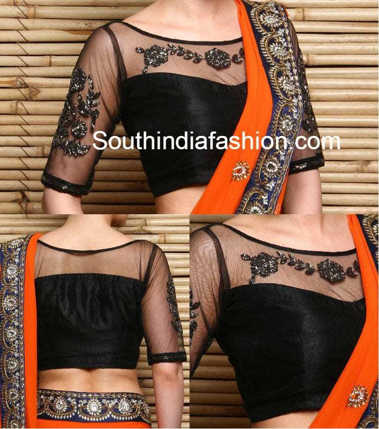 Net Blouse Back Neck Designs 67