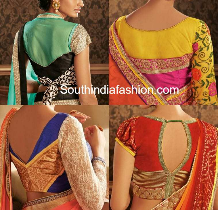 stylish blouse patterns for georgette and chiffon sarees