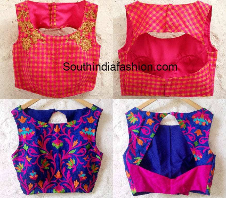 Boat Neck Blouse Designs South India Fashion