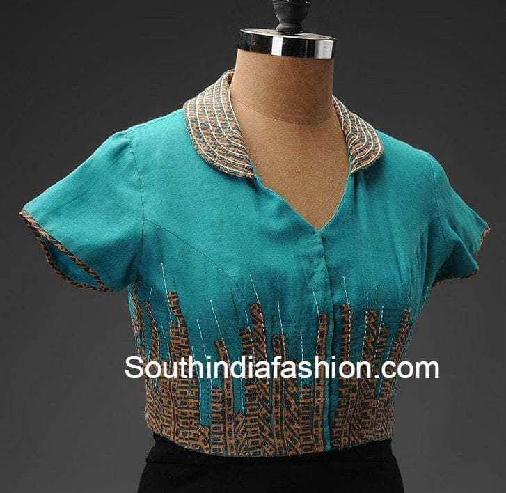 collar_blouse_for_officewear_sarees