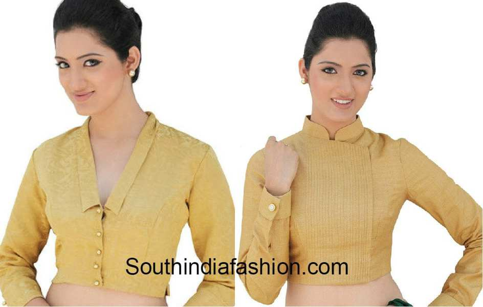Stand Neck Blouse Designs : Blouse designs for formal sarees south india fashion